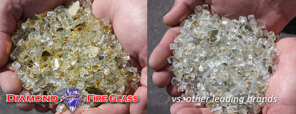What Fire Pit Glass Is Better? Gold Reflective Genuine Diamond Fire Pit Glass ™ vs. Other Leading Brand Glass