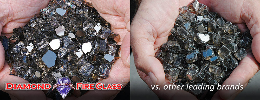 What Fire Pit Glass Is Better? Bronze Reflective Nugget Genuine Diamond Fire Pit Glass ® vs. Other Leading Brand Glass