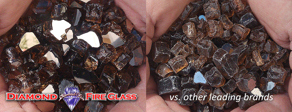 What Fire Pit Glass Is Better? Copper Reflective Nugget Genuine Diamond Fire Pit Glass ® vs. Other Leading Brand Glass