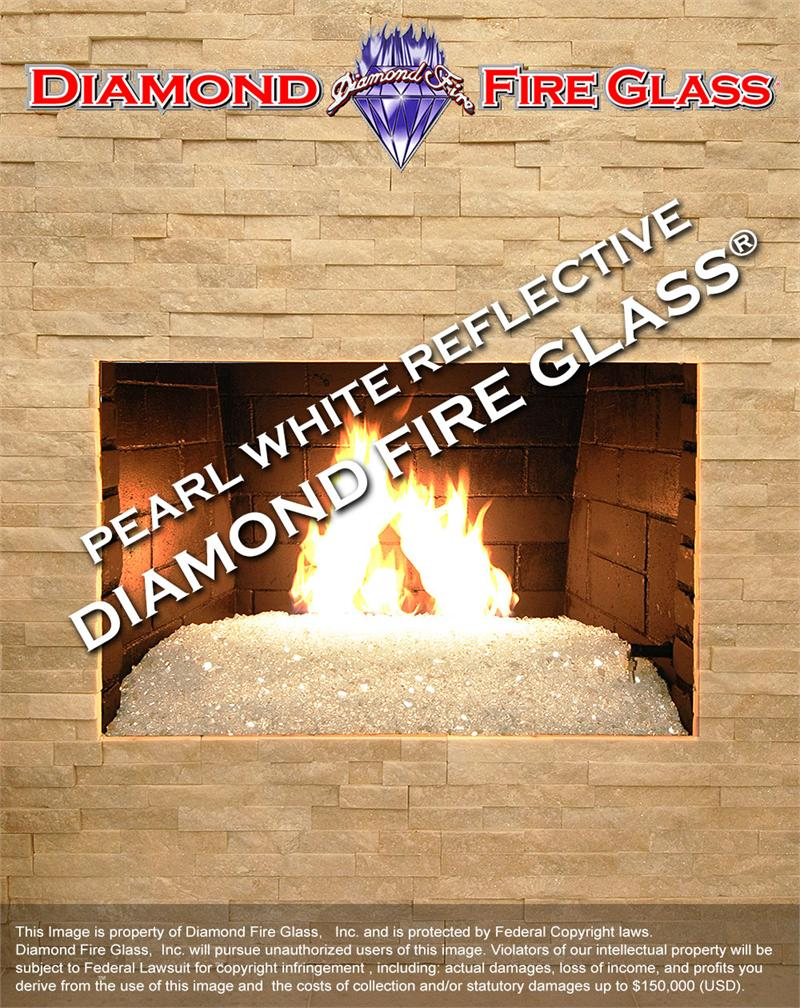 pearl white reflective diamond fire pit glass 1 lb crystal