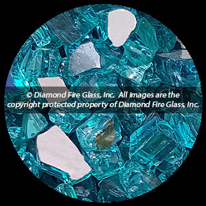 Bahama Blue Reflective Nugget Diamond Fire Pit Glass - 60 LB Nugget