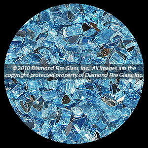 Bali Blue Reflective Diamond Fire Pit Glass - 25 LB Crystal Package