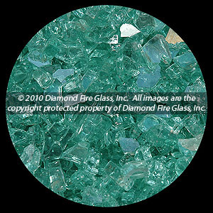 Blue Green Reflective Diamond Fire Pit Glass - 1 LB Crystal Package
