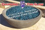 Costa Azul - Blue and Teal Fire Pit Glass installed in an outdoor fire pit