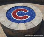 Fire Pit designed with Cubs logo using Electric Blue, Alpine, Ruby Red