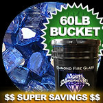 Electric Blue Reflective Nugget Diamond Fire Pit Glass - 60 LB Nugget