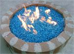 Fire Pit with Bahama Blue Fire Glass installed