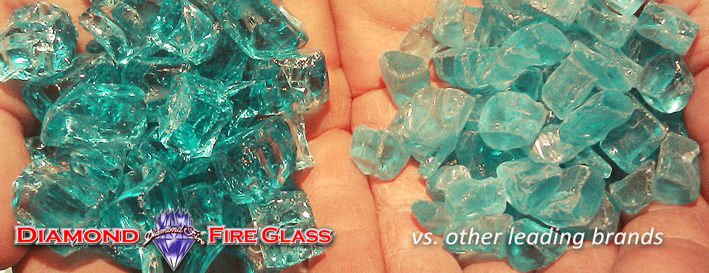 What Fire Pit Glass Is Better? Genuine Bahama Blue Nugget Diamond Fire Pit Glass ™ vs. Other Leading Brand Glass