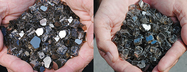 Genuine Bronze Reflective Nugget Diamond Fire Pit Glass ™ vs. Other Leading Brand Glass