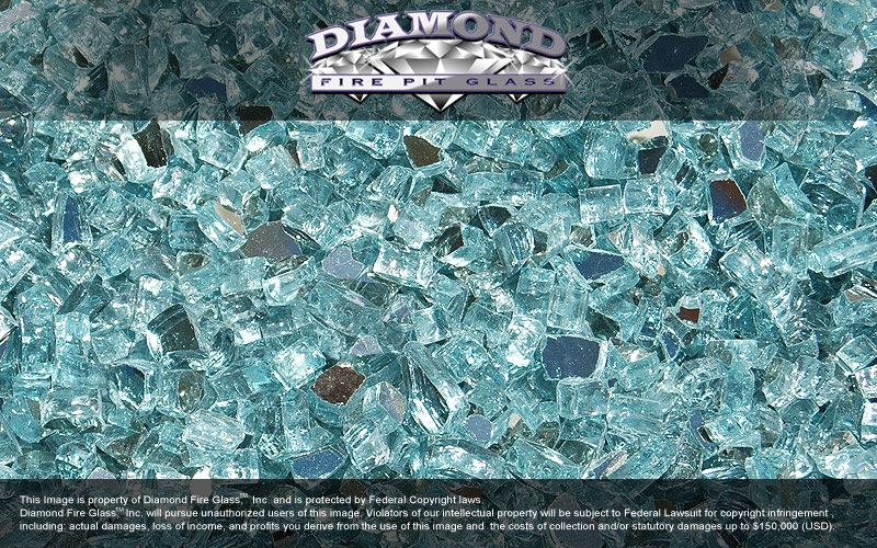 Reflective Caribbean: Caribbean Teal Reflective Diamond Fire Pit Glass