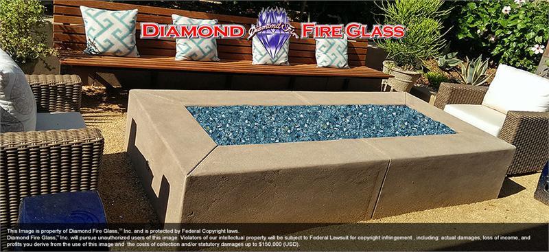 Reflective Caribbean: Caribbean Teal Reflective Nugget Diamond Fire Pit Glass