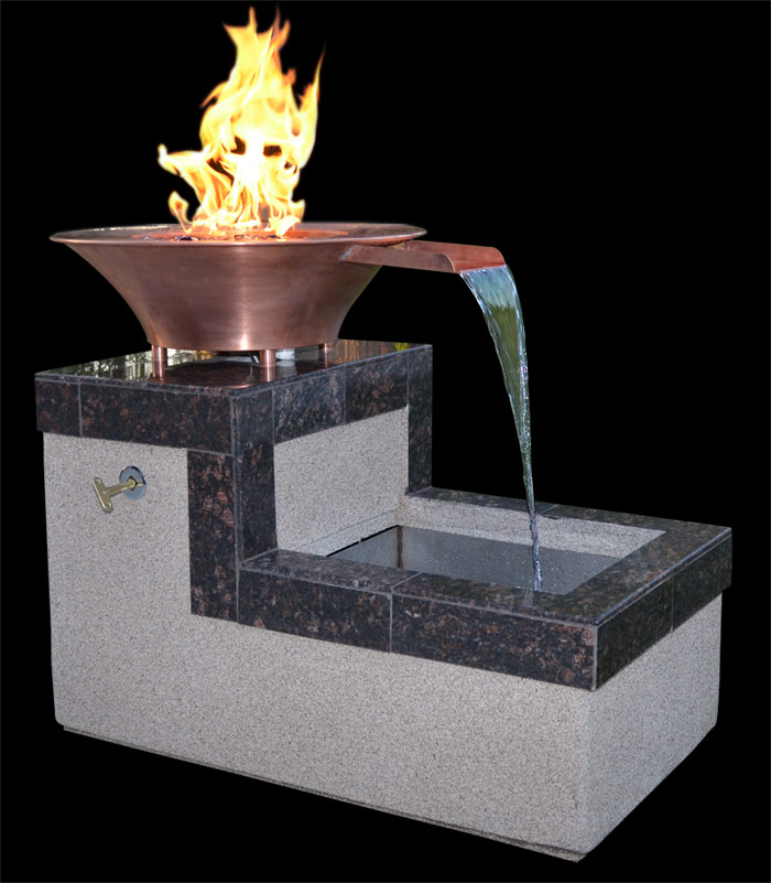 Copper Fire Bowl Water Fountain