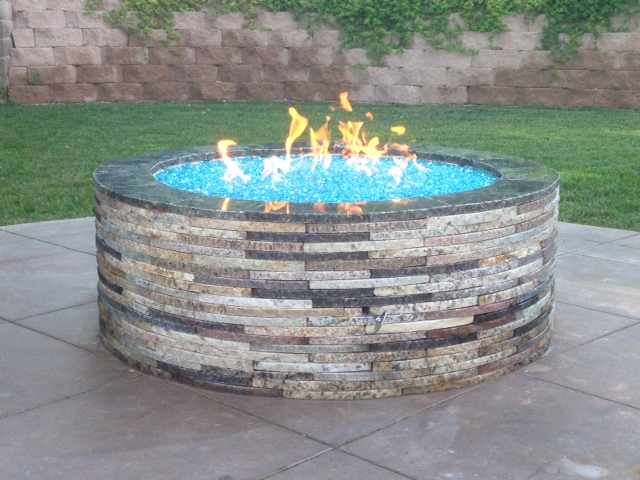 ... Bahama Blue Reflective installed in a fire pit with recycled granite  pavers - Bahama Blue Reflective Diamond Fire Pit Glass - 60 LB Crystal
