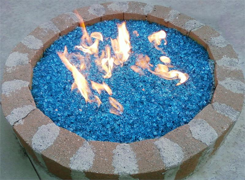 ... Fire Pit with Bahama Blue Fire Glass installed - Bahama Blue Diamond Fire Pit Glass - 100 LB SuperSack Crystal Package