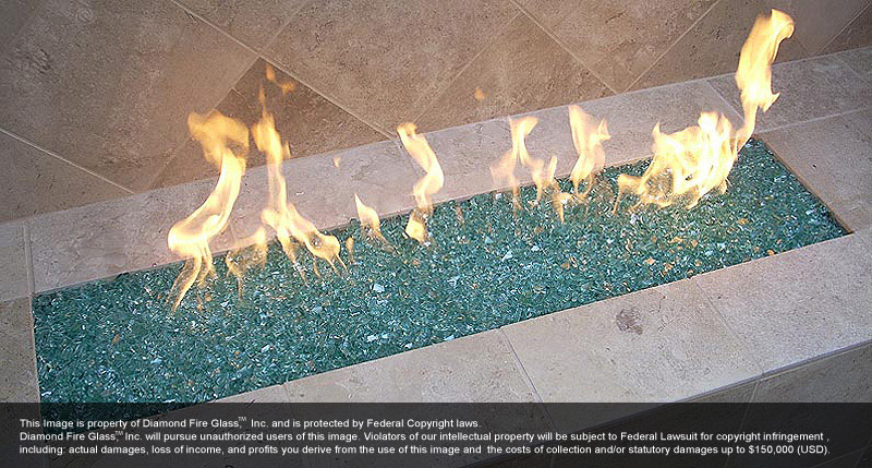 ... Emerald Green Diamond Fire Glass installed in fire pit - Emerald Green Diamond Fire Pit Glass - 1 LB Crystal Package