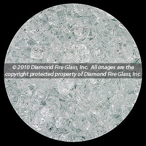 Alpine White Diamond Fire Pit Glass - 100 LB SuperSack Nugget Package