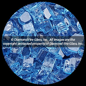 Bali Blue Nugget Diamond Fire Pit Glass - 25 LB Nugget