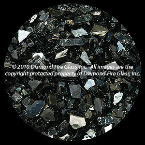 Black Reflective Diamond Fire Pit Glass - 25 LB Crystal Package