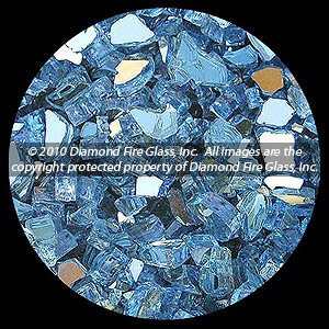Blue Reflective Diamond Fire Pit Glass - 60 LB Crystal Package