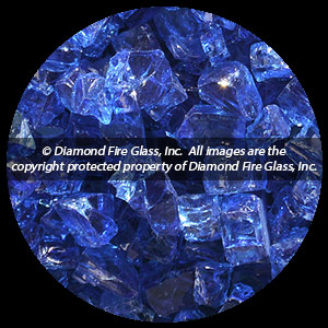 Electric Blue Nugget Diamond Fire Pit Glass - 60 LB Nugget