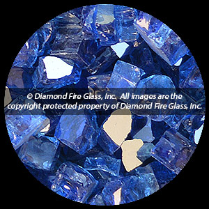 Electric Blue Reflective Nugget Diamond Fire Pit Glass - 100 LB SuperSack Nugget