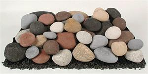 ceramic fire stones and creekstones for inside fireplace or fire pit