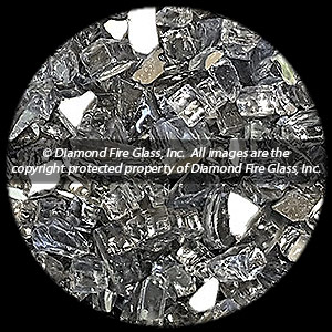 Gun Metal Gray Reflective Diamond Fire Pit Glass - 1 LB Crystal