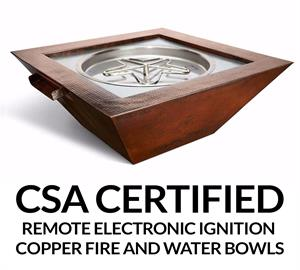 "Square 40"" - Sedona Complete Hammered Copper Water and Fire Bowl with Electronic Insert"
