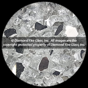 Silver Reflective Nugget Diamond Fire Pit Glass - 60 LB Nugget