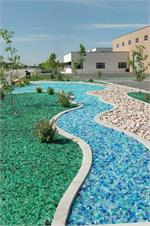Recycled landscape glass used in outdoor commercial landscape