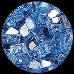 Bali Blue Reflective Nugget Diamond Fire Pit Glass - 1 LB Nugget