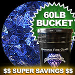 Electric Blue Nugget Diamond Fire Pit Glass - 100 LB SuperSack Nugget