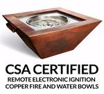 "36"" x 36"" Sierra Water & Fire Smooth Copper Bowl with Electronic Insert"
